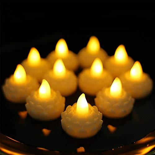 YIDIANIDAN Budismo LED Luz De Loto Flotante Impermeable, Paquete De 12 Velas De Luz, Loto De Lirio Que Cambia De Color para Centros De Mesa De Fiesta, Estanques, Pecera