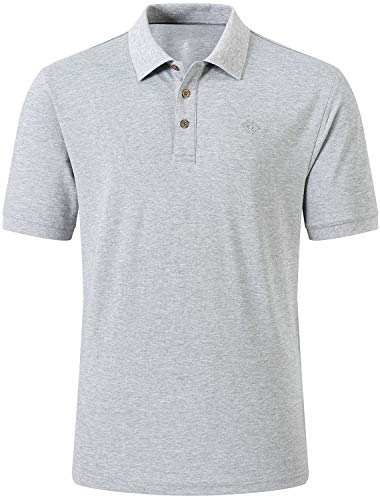 AjezMax Golf Polo Shirt Comfortable Fitness Regular-Fit Sport T-Shirt for Men,Gray Small
