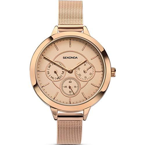 Sekonda Reloj de cuarzo para mujer de 38 mm con esfera analógica rosa y metal rosa 2368
