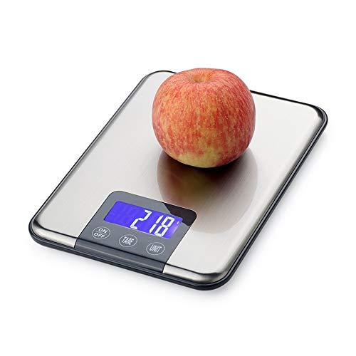 Jkckha 15kg LCD Báscula electrónica de cocina de 15kg 1 g de acero inoxidable dieta de acero inoxidable Alimento Escala digital Toque gramos de pesaje Equilibrio de balance de luz de fondo azul
