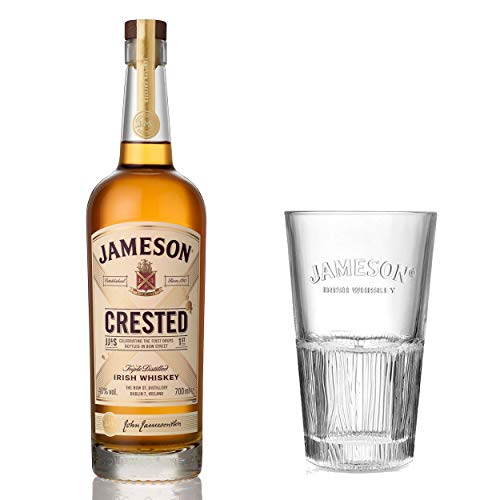 Jameson Crested Ten Blended Irish Whisky Set mit Tall Glas, Whiskey, Schnaps, Spirituose, Alkohol, Flasche, 40 %, 700 ml