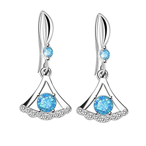 925 Sterling Silver Earrings for Women Girls Stud Earrings Diamond Delicate Drop Zircon Earrings Skirt Shape Earrings Jewelry Birthday Gift (Blue)