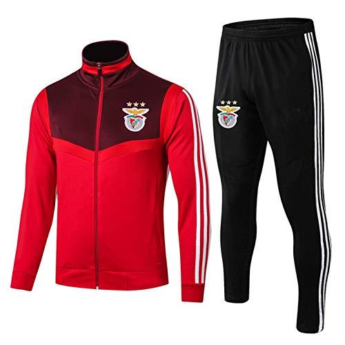 DDZY 19-20 Benfica Fußballtraining Uniform, Männer Herbst und Winter Anzug Reißverschluss langärmelige Jacke,Rot,M