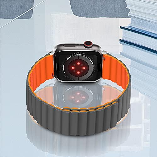 Tasikar コンパチブル Apple Watch バンド 磁気クラスブ付きシリコン交換ストラップ【両面ウェアラブル】