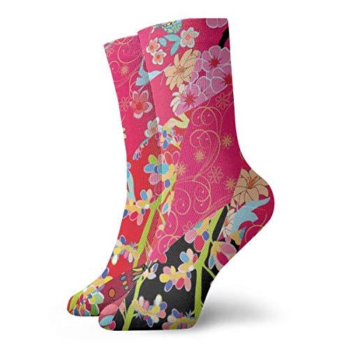 Fuchsia Patchwork-Socken, klassisch, Freizeit, Sport, kurze Socken, 30 cm, geeignet für Damen und Herren