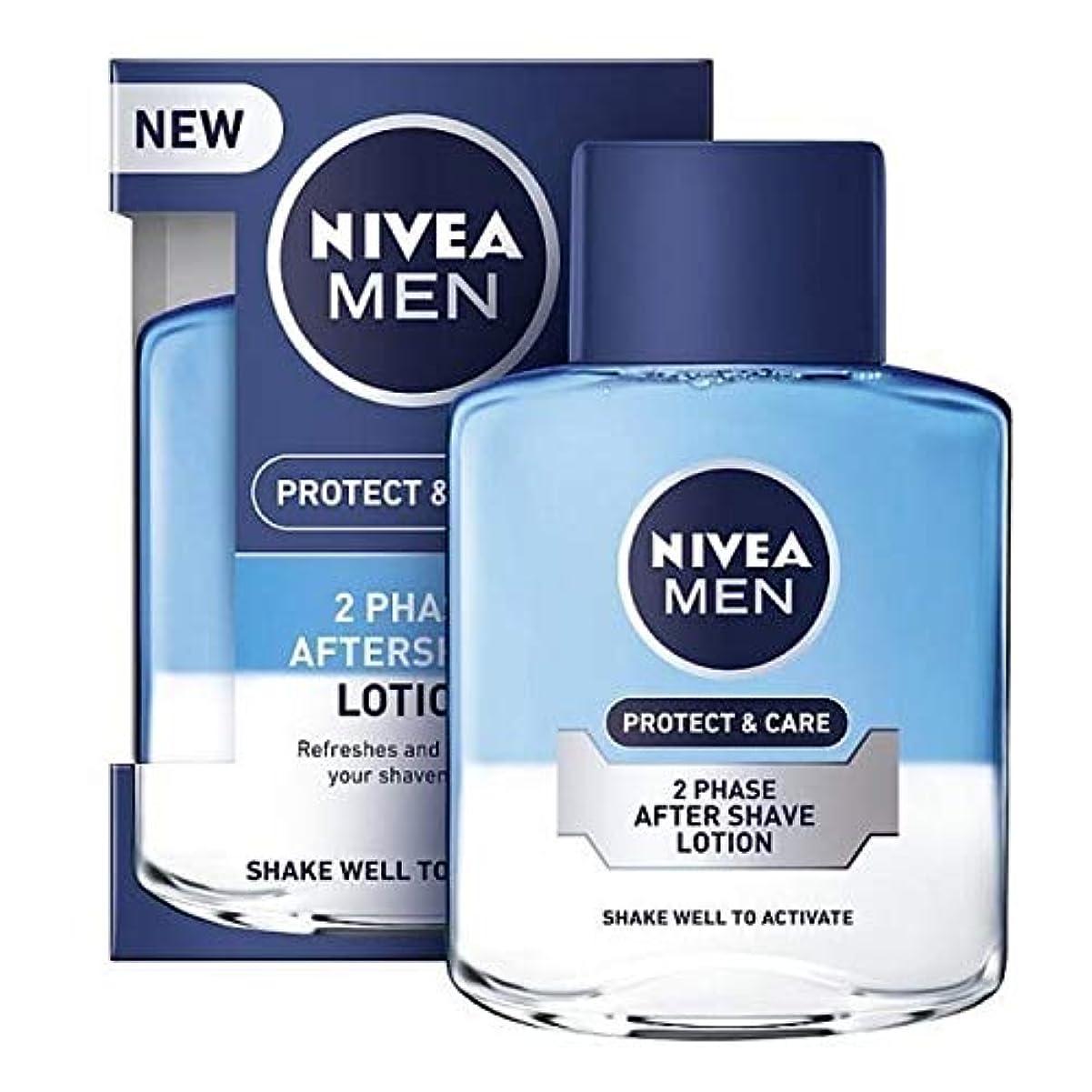 砂土地妥協[Nivea ] ニベアの男性2相アフターシェーブローション保護&ケア、100ミリリットル - NIVEA MEN 2 Phase Aftershave Lotion Protect & Care, 100ml [並行輸入品]