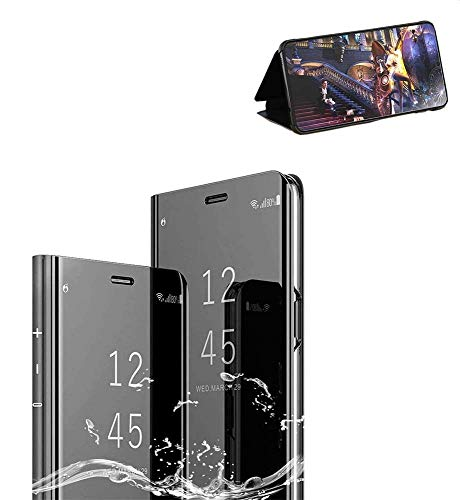 Xiaomi Redmi Note7 Cover, Nero Xiaomi Redmi Note7 Custodia Protettiva Specchio Portafoglio Clear Standing Flip Case Caso Skin Protezione Durevole, Compatibilita esatta per la Xiaomi Redmi Note7