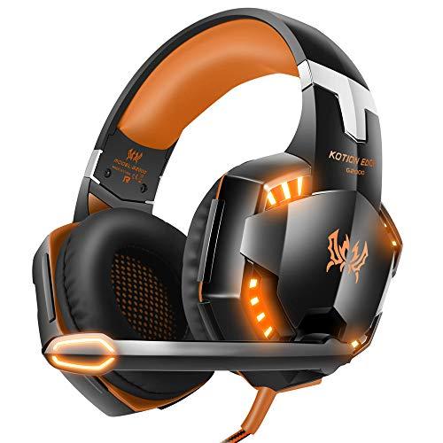 VersionTECH. Auriculares de Gaming para PS4 Xbox One PC con micrófono LED de cancelación de Ruido por Encima de la Oreja Compatible con Nintendo Switch Games Laptop Mac, Color Naranja