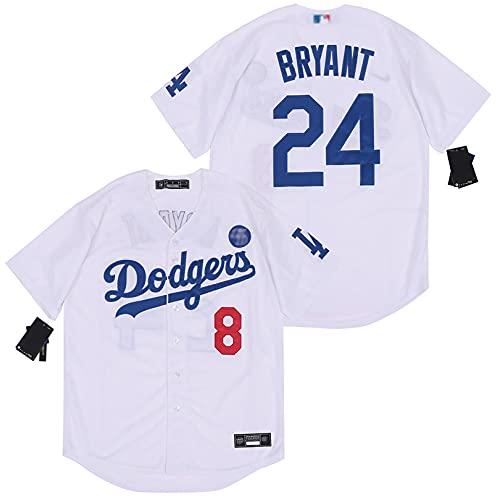 YENDZ Camiseta de béisbol de los Hombres de la edición Conmemorativa de los Aficionados, Camiseta de Bryant de los Dodgers No.8 No.24 L White