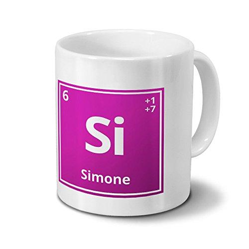Tasse mit Namen Simone als Element-Symbol des Perioden Systems - pink - Namenstasse, Kaffeebecher, Mug, Becher, Kaffeetasse
