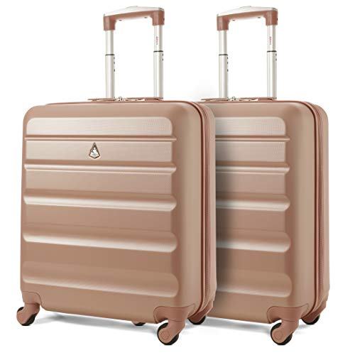 Aerolite 56x45x25 easyJet British Airways Jet2 Maximum Allowance 46L Lightweight Hard Shell Carry On Hand Cabin Luggage Travel Spinner Suitcase with 4 Wheels (2X Rose Gold)