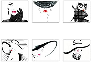 Vogue Fashion Prints - Set of 6 Minimalist Matte Watercolor Couture Designer Wall Art Decor Photos 8x10