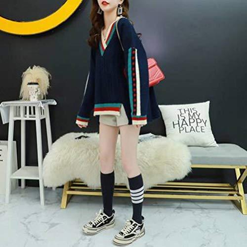 Golden_flower Lässiger Pullover Damenpullover Lose Oberbekleidung Große V-Ausschnitt Herbst und Winter Studentenjackeschwarz, Einheitsgröße