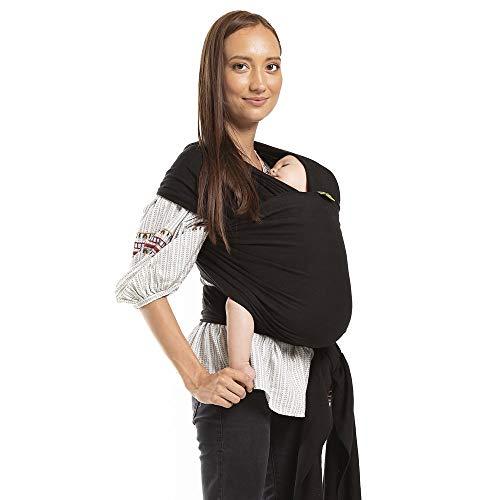 Boba Wrap, Fular Elástico Portabebé Ergonómico - Ideal Porteo Recién Nacidos (Black)