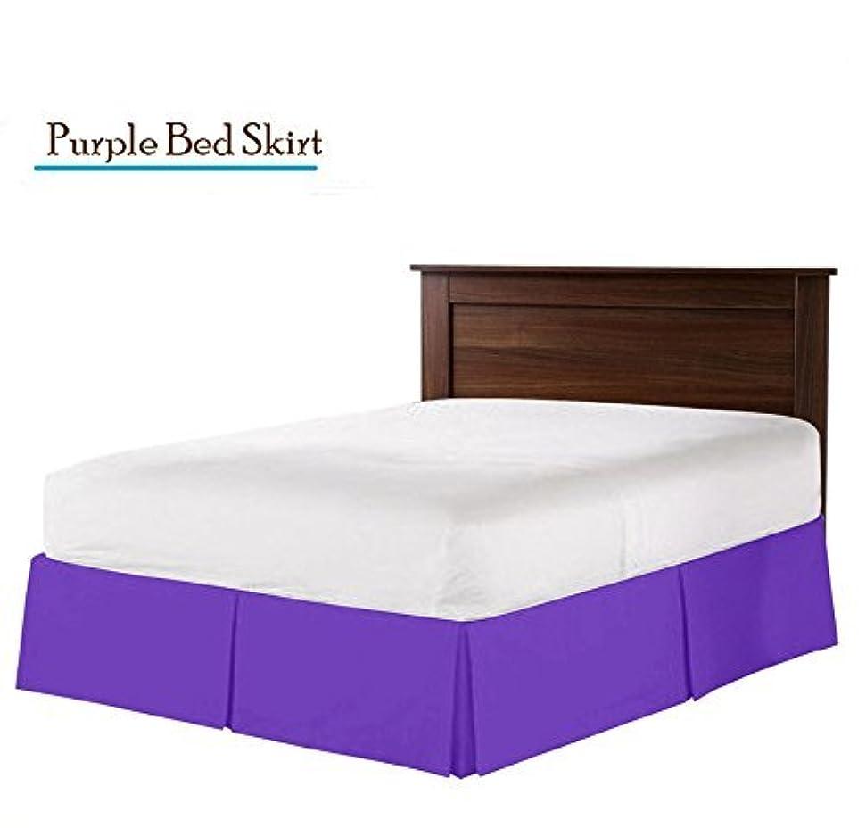 礼拝求める微弱Greatest Aの実際の400スレッド数分割コーナー用フリル付きベッドスカート/ほこりクイーンサイズ無地ブラック15インチドロップエジプト綿高品質Wrinkle &色褪せベッドスカート。 Full Bed-Skirt 16