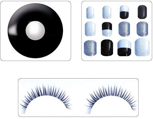 Zoelibat Beauty-set contactlenzen met gekleurde jaarlenzen, vingernagels en wimpers met lijm, zwart, 1 stuks
