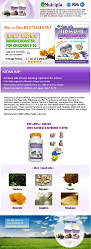 Kidmune Children Immune Booster, Kids Immune Support 180 Chewable Mini Tabs - Elderberry, Colostrum, Propolis, Beta Glucan, Astragalus, Vitamin C, D, Zinc,Natural Flavor, 4 Animal Shapes