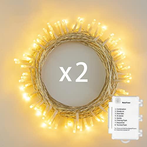 2stk 50er LED Outdoor [Timer] Lichterkette Batterienbetrieben Warmweiß (8 Modi, 5M Durchsichtigen Kabeln, 120 Stunden Betriebsdauer, IP65 Wasserdicht, Außenbeleuchtung)