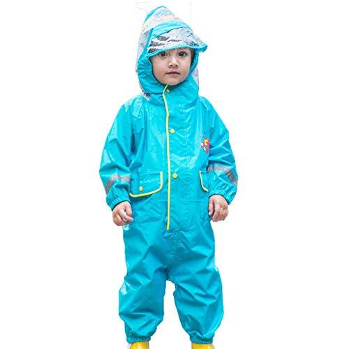 CKH Outdoor Reizen Kinderen Siamese Regenjas Stijl Jongen Meisje Baby Kwekerij Grote Hoed Ademende Regenbroek Poncho Blauw