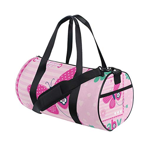 ZOMOY Sporttasche,Schmetterlings Einladungs Karten Illustration,Neue Druckzylinder Sporttasche Fitness Taschen Reisetasche Gepäck Leinwand Handtasche