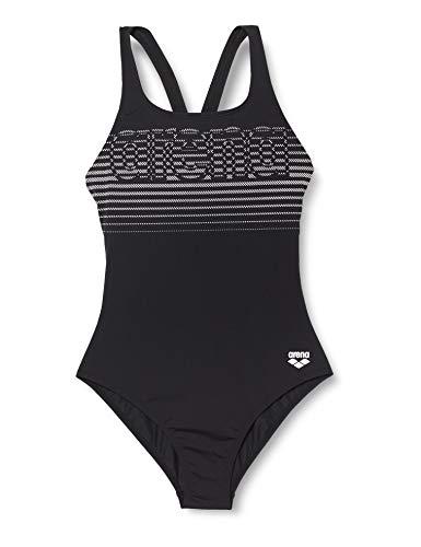 ARENA Damen Sport Badeanzug Logo Stripes, Black-White, 40