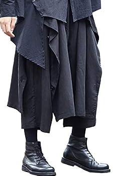 MOKEWEN Men s Layered Button Studded Black Drop Crotch Elastic Waist Pantskirt Culotte Harem Pants Shorts 27-33