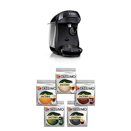 Bosch TAS1002 Tassimo Happy Kapselmaschine,1300 W, platzsparend, große Getränkevielfalt, real black + Tassimo Vielfaltspaket - 5 verschiedene Packungen kaffeehaltiger Getränke T Discs (1 x 927 g)