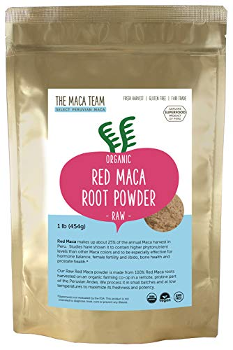 Raw Red Maca Root Powder - Certified Organic - Highest Nutrients of All Maca, Fresh Harvest From Peru, Certified Organic, Fair Trade, GMO-Free, Gluten Free Vegan and Raw, 50 Servings, 1 Lb. Pouch