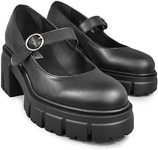 Altercore Margot Zapatos Mujer Plataforma Negro Vegan Mary Jane de Tacón Alto
