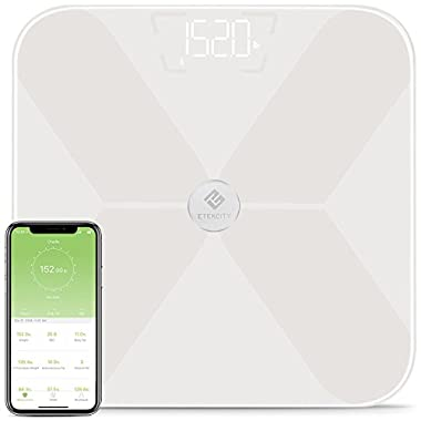 Etekcity Smart BMI Scale, Bluetooth Body Fat Scale Wireless Digital Bathroom Weight Scale with 13 Essential Measurements and ITO Conductive Glass,FDA Approved Body Composition Analyzer with App, White