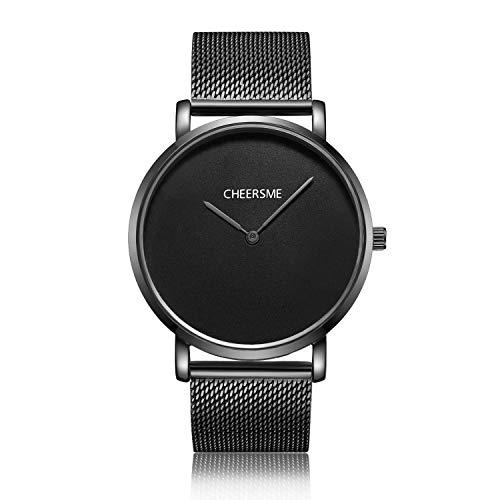 Unendlich U- Fashion Relojes de Pulsera para Hombres Mujeres Correa de Acero Inoxidable Relojes Analógico Cuarzo de Negocios para Hombres Casual Impermeable Resistente al Agua