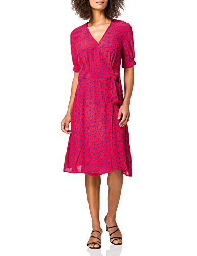 Tommy Hilfiger Damen Viscose Crepe WRAP Knee Dress SS Lssiges Kleid, Rot, 40