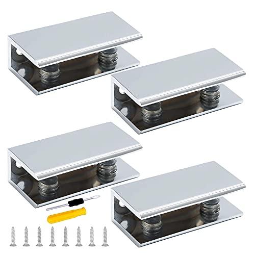 GZcaiyun - 4 soportes para cristal, aleación de aluminio, abrazadera de cristal, rectángulo de 8-10 mm, con 16 tornillos y destornillador, para ventana, barandilla, escalera, cuarto de baño