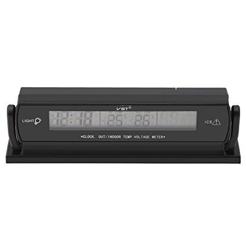 Zer one Selbstauto Temperatur Thermometer, 12V 24V 2 in 1 Auto Spannungsmesser Taktgeber Thermometer mit Standplatz, LCD Digitalanzeige