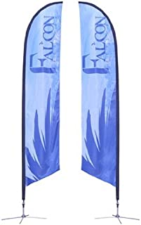 Custom Printed 13' Ft Feather Banner Flag, Sail Sign Kit with Cross Base. Double Sided.