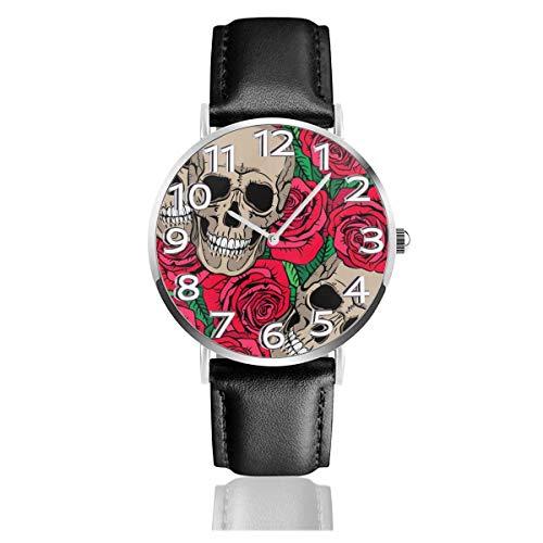 Reloj de Pulsera Calaveras y Rosas Rojas Correa de Cuero sintético Duradero Relojes de Negocios de Cuarzo Reloj de Pulsera Informal Unisex