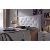 Cabezal tapizado Rombo 150X60 Blanco, Acolchado con Espuma, 8 cm de Grosor, Incluye herrajes para Colgar