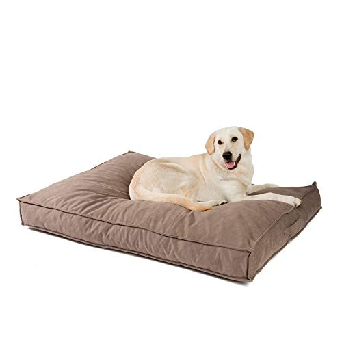 JAMAXX Cojín para perros Premium ortopédico de espuma viscoelástica suave, lavable, protección contra la humedad, relleno grueso, copos elásticos, tejido aterciopelado, PDB1001 marrón (L) 120 x 90