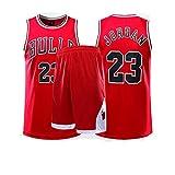Fei Fei Chicago Bulls #23 Michael Jordan Camiseta de Baloncesto para Hombres Retro Chaleco de Gimnasia Top Y Pantalones Conjunto Sport Deportivo Jerseys,Rojo,L