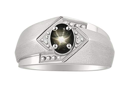 RYLOS - Anillo para hombre con gema de cabujón ovalada y diamantes brillantes auténticos en plata de ley 925-6 x 4 mm, zafiro de estrella azul, zafiro de estrella negra, piedra de color ópalo