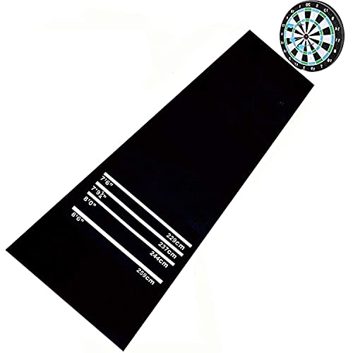 tonchean Dart mat with Throw line Heavy Duty 9.8 x 2ft Indoor Darts Mat with Distance Scale Floor Mat Non Slip Professional Rubber Toe Line Carpet 4mm Thickness Flooring Protector for Exercise Game