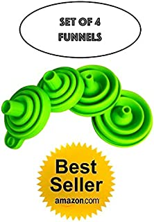 Collapsible Funnel Set of 4, Felexible Foldable Kitchen Silicone Funnels, Large & Small Liquid/Powder Transfer wide mouth water bottle with FREE 6 pcs Wine Cup Marker!