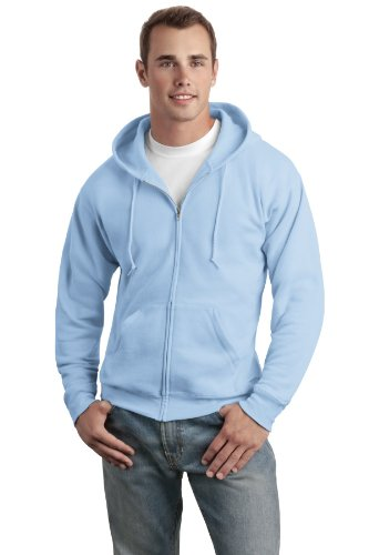 Hanes Adult ComfortBlend EcoSmart Full Zip Hoodie Pullover, Light Blue, X-Large