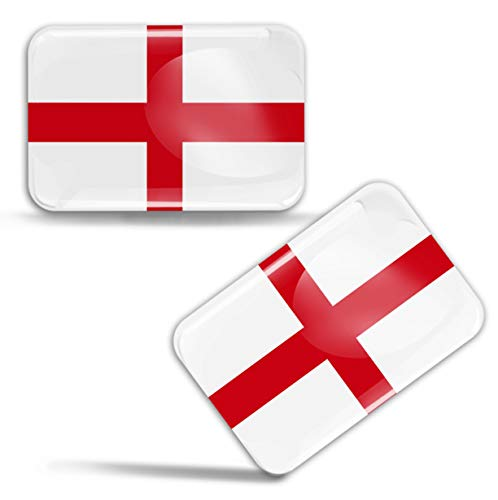 Biomar Labs® 2 pcs 3D Gel Pegatinas Bandera Nacional Inglaterra St George'S Cross Inglaterra Reino Unido UK Silicona Adhesivo Autos Coches Motos Ciclomotores Bicicletas Ordenador Portátil F 80