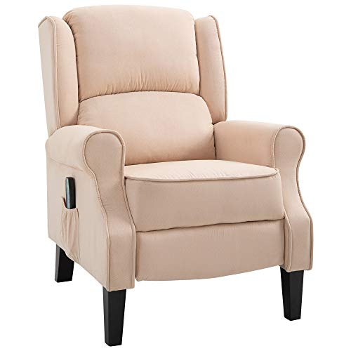 HOMCOM Heated Push-Back Massage Recliner Vibrating Sofa Chair Suede Fabric Padded Seat with Remote Control - Cream White