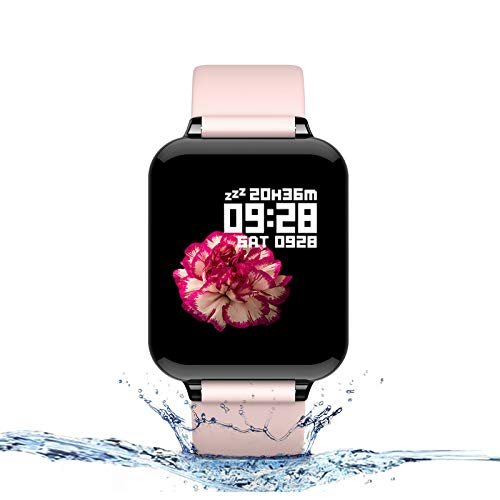 Smart Watch for Android and iOS Phones with Heart Rate & Blood Pressure Monitor, Sleep Monitort, Information Reminder & Step Counter Waterproof Fitness Tracker for Men, Women and Kids (Pink)