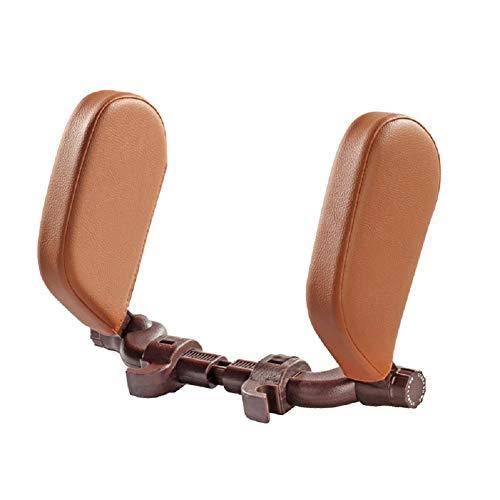 Almohada para reposacabezas de asiento de coche RHG, ajustable, versión telescópica, plástico ABS y algodón con memoria, almohada para reposacabezas de coche, para niños, adultos, ancianos amarillo-marrón