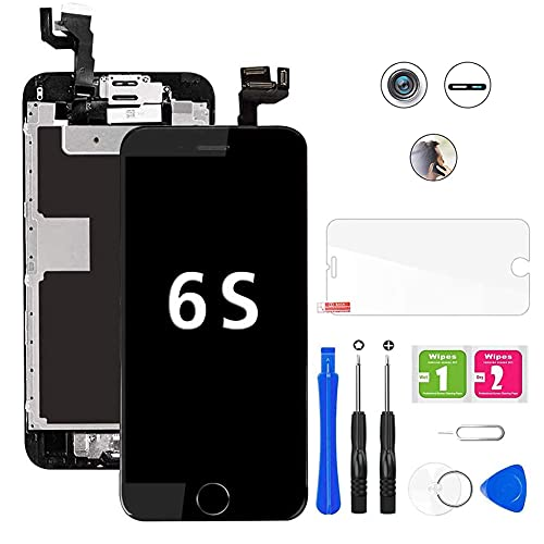 Hoonyer Display per iPhone 6S Touch Screen LCD Digitizer Schermo 4,7' Utensili Inclusi(con Pulsante Home, Fotocamera, sensore Flex) Nero