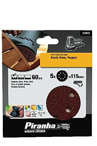BLACK & DECKER X32002-XJ - 5 Discos ø 115 mm. Para lijadora rotorbital. Madera, pintura, barniz, yeso, metal y plástico. Grano 60. Larga Duración.