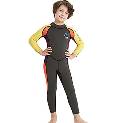 Neoprene Kids Wetsuit for Boys Girls 2.5MM One Piece Full Body Long Sleeve Swimsuit, UV Protection Keep Warm for Scuba Diving Snorkeling Swimming Fishing